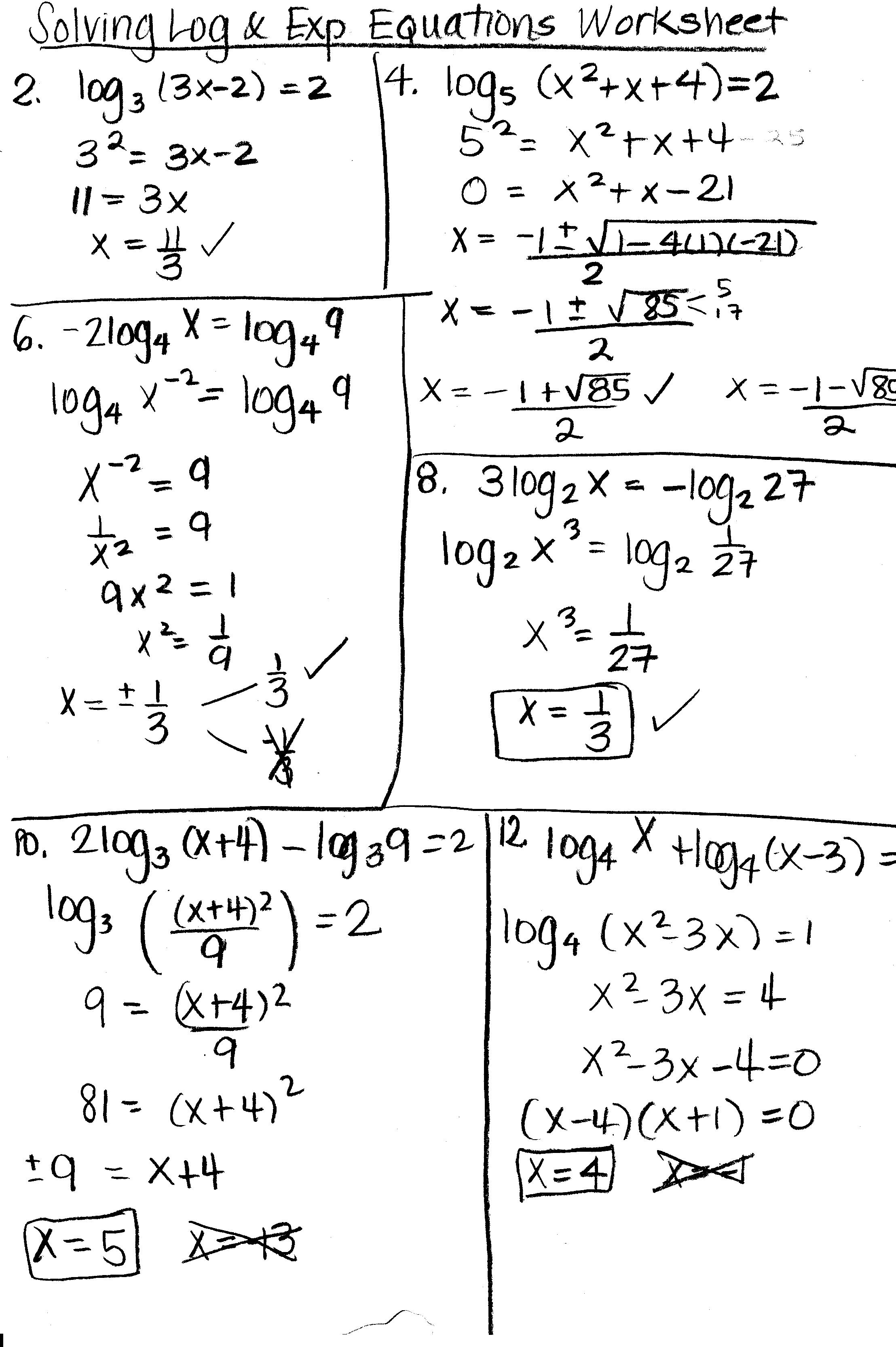 PreCalculus Honors Mrs Higgins – Solving Log Equations Worksheet
