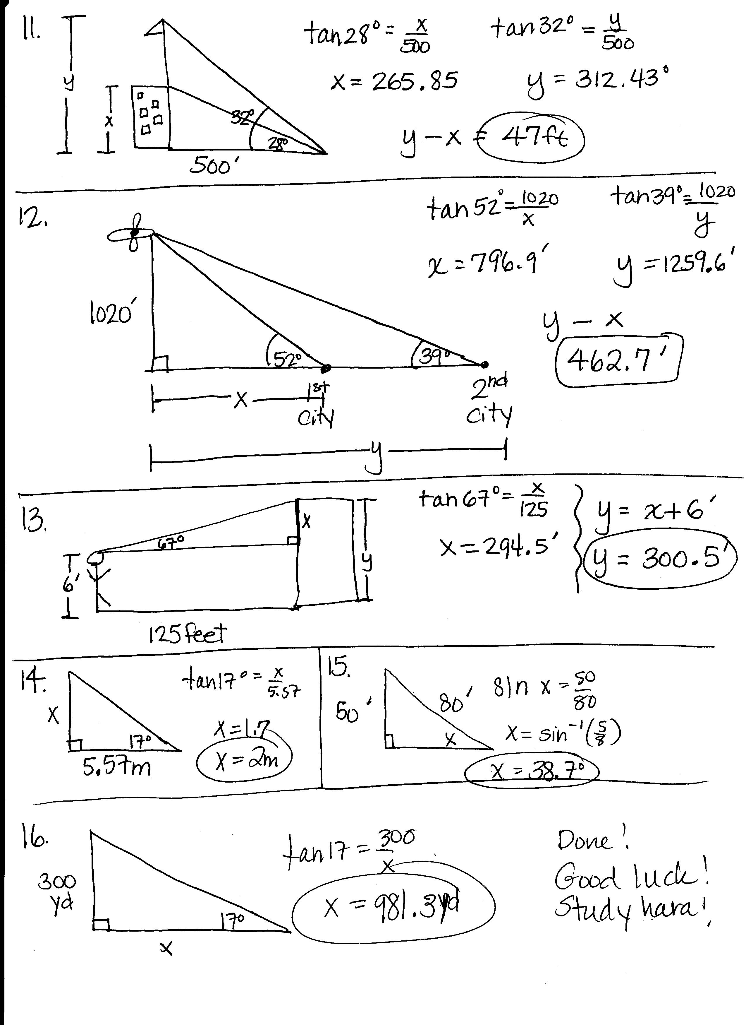 Printables Trigonometry Review Worksheet quiz worksheet review of trigonometry for physics study com print math worksheet